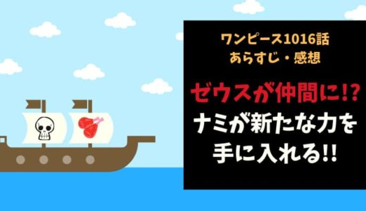 ワンピース ネタバレ1016話感想【ゼウスが仲間に!?ナミが新たな力を手に入れる!】